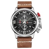 CURREN Top Brand Luxury Sport Men Watch Date Leather Band Chronograph Clock Male Quartz Men Wrist
