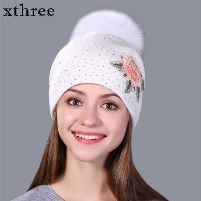 Xthree Female winter hat fashion embroidery knitted beanie hat for women real fox fur pom pom wool hat Skullie hat girls gorro