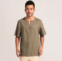 Vintage Style Green Chinese Men Cotton Linen Casual Shirt Summer New Short Sleeve Kung Fu Shirt