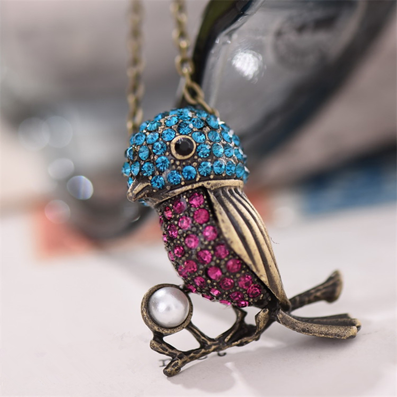 8SEASONS Fashion Jewelry Bronze Color Bird Branch Metal Pendant Created Pearl Gem Stone Blue Red Vintage Necklace, 1 Piece