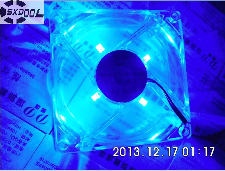 SXDOOL pc computer fan 80mm with led 8025 8cm silent  cooling fan 12V LED luminous chassis molex 4D plug