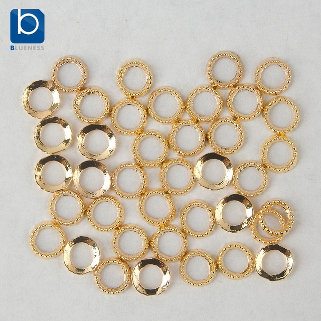 Blueness Nail Art Gold Ring Charms Decoration for Nails Design 10pcs ...