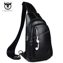 BULL CAPTAIN Famous Brand Cow Leather Mens Chest Bags Fashion Travel Crossbody Bag Man Messenger Male Shoulder Retro