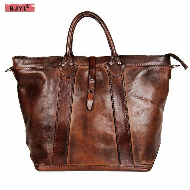 157fb441f5c6 BJYL Винтаж из натуральной кожи Для женщин сумки Топ из яловой выделанной  кожи женский сумка растительного