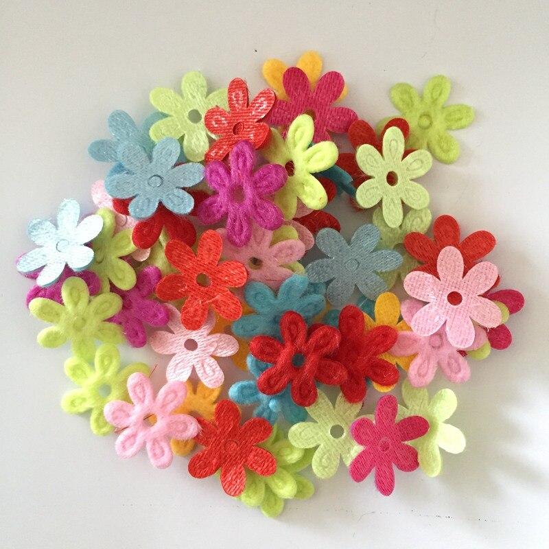 Diy craft 500pcs 15mm padded felt spring flower appliques wedding decoration A29A*5