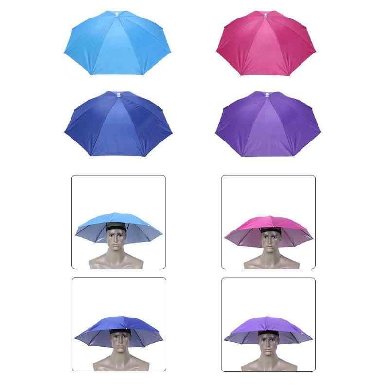 f367661790fcc ... Outdoor Foldable Sun Umbrella Hat Anti-Rain Elastic Band Head Umbrella  Hat Outdoor Fishing Sunscreen ...