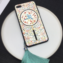 For iPhone 7/8 plus case Traditional Chinese Palace style X 6 6s magpie plum flower hard back cover +phone charm