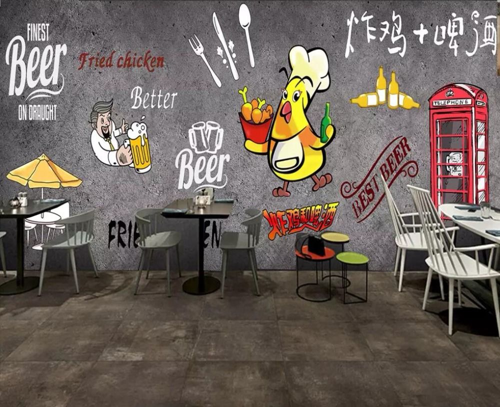 Beibehang Custom wallpaper hand painted fried chicken beer wallpaper