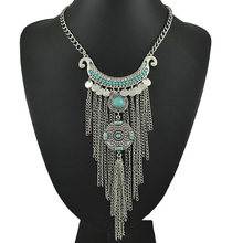 Bohemian Ethnic Paillette Beads Rhinestone Crescent Long Chain Tassel Choker Necklace Jewelry(China)
