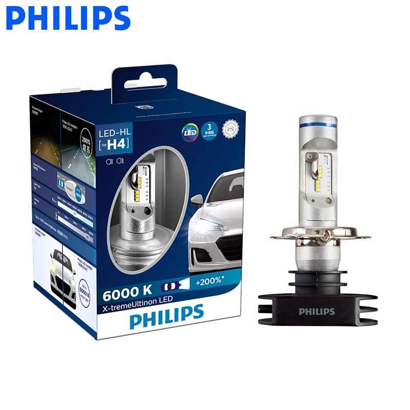 Philips LED H4 H7 H8 H11 H16 9005 9006 X-treme Ultinon LED Car Headlight Fog Lamps 6000K Cool White +200% Brighter Bulbs, Pair