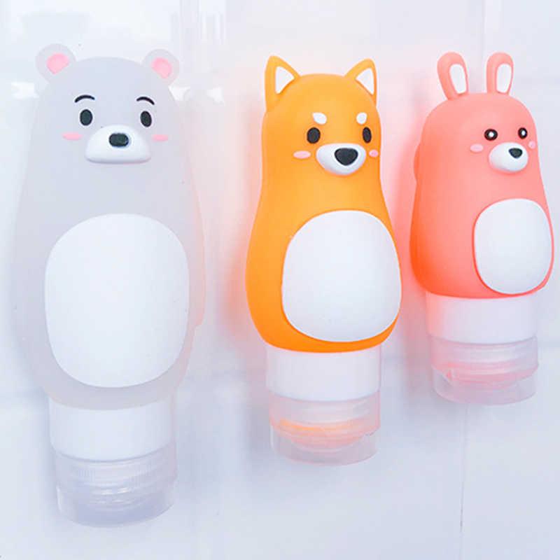 Portátil Animal Urso Dos Desenhos Animados do Pinguim Silicone Caso do Curso De Armazenamento Organizador Shampoo Shower Gel Loção Garrafa Reutilizável