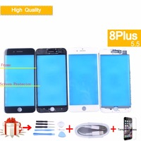 10pcs For iPhone 8 Plus 8Plus Front LCD Touch Screen Digitizer GLASS Lens panel with frame bezel for iphone 8 plus glass