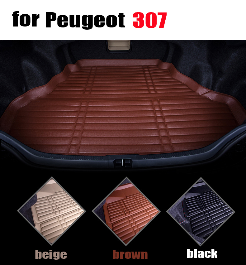 car trunk liner pad for Peugeot 307 sedan cargo liner leather full surround cargo mats all weather car mat auto accessories car rear trunk security shield cargo cover for volkswagen vw tiguan 2016 2017 2018 high qualit black beige auto accessories