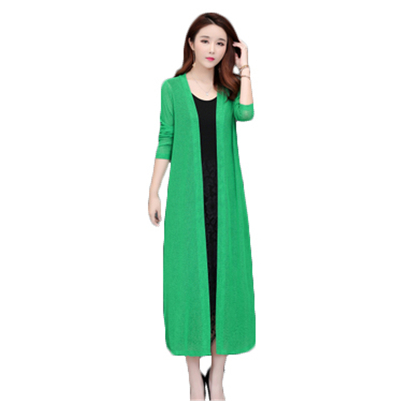 2019 New Spring Female Coat Plus Size Casual Kinitted Sweater Cardigan Loose long Cardigan Summer Women's Cardigan Coat FC23