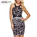 KAIGE. nina nova moda sexy leopard dress duas opções de cor, dreno ombro sexy fashion dress evening party dress 9080