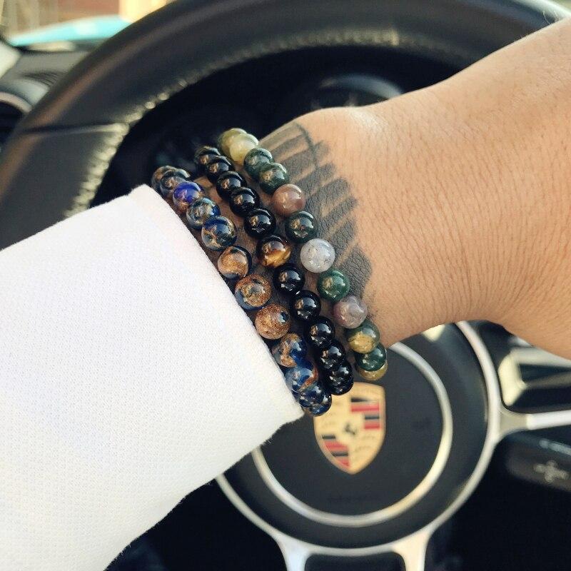 Mcllroy Natural Black Stone Beads Bracelet Men Hematite Beaded Bracelets Bracciali Stone Bracelet Pulseiras bileklik Jewelry