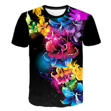 Flowers Print T-Shirt For Man 2019 Summer New T Shirt Woman Floral Hawaiian Fashion Tops Casual Tees Brand Clothing