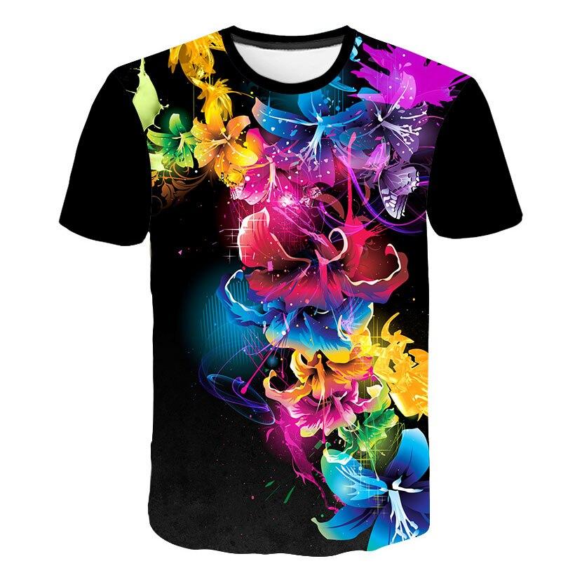 Flowers Print   T  -  Shirt   For Man 2019 Summer New   T     Shirt   Man Woman Floral Hawaiian Fashion Tops Casual Tees Brand Clothing