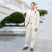 Летние бежевые Для мужчин Свадебный костюм для мужчин пиджак для жениха Пользовательские Slim Fit Повседневное Классические Брюки смокинг Best