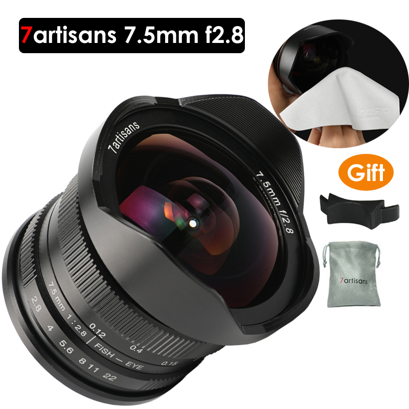 7 artigiani 7.5mm f2.8 lente fisheye 180 APS-C Manuale Obiettivo Fisso Per E Montare Canon EOS-M Monte Fuji FX montaggio