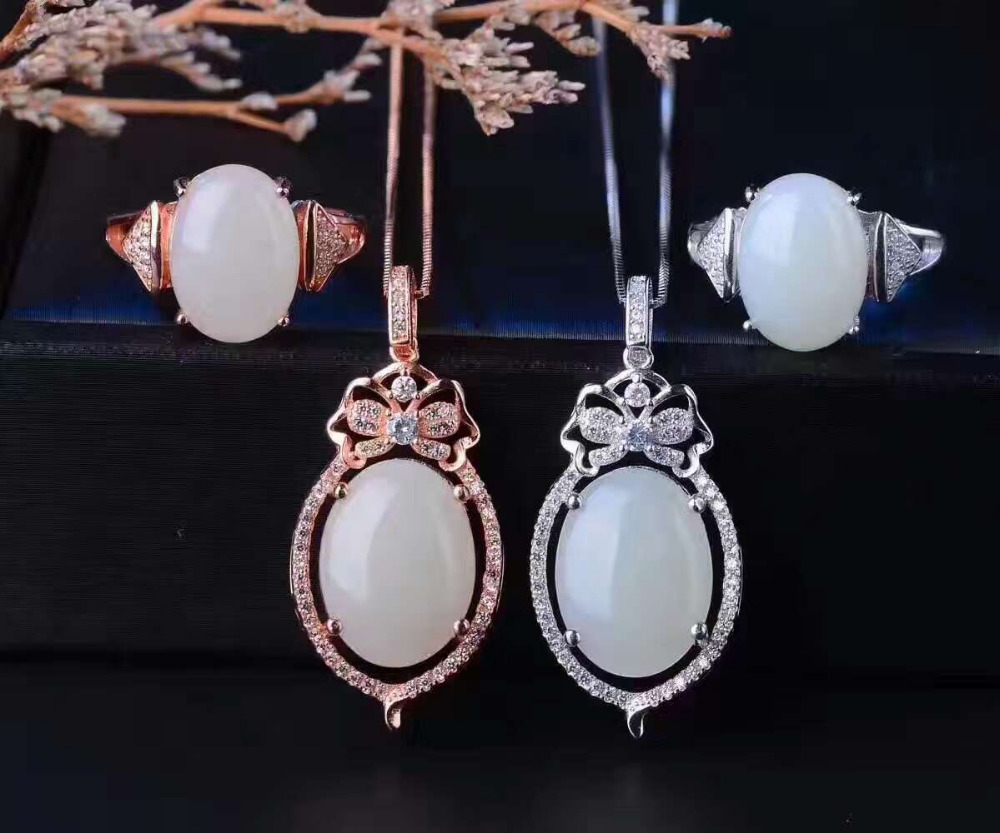 Natural white jade gem jewelry sets natural gemstone ring Pendant 925 silver Exquisite Water droplets women party fine jewelry : 91lifestyle