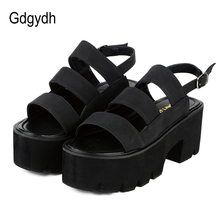 Gdgydh Rome Style Ankle Wrap Fashion Women Sandals 2018 New Summer Ladies Platform Shoes Woman Casual Shoes Black Comfortable