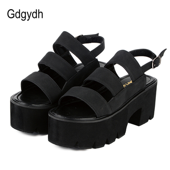 diseño de calidad 1961d 01a21 Gdgydh estilo Roma tobillo Wrap moda mujeres sandalias 2019 nuevo verano  señoras zapatos de plataforma Mujer Zapatos casuales negro cómodo
