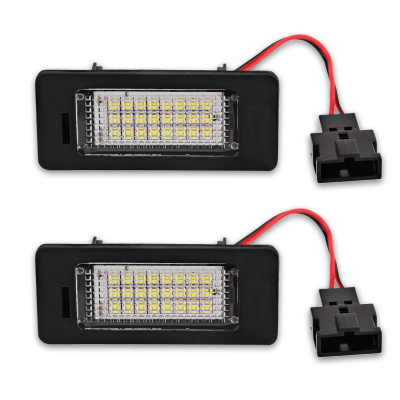 2pcs White Car LED Number License Plate Lights lamp 12V for <font><b>Audi</b></font> <font><b>A4</b></font> B8 A5 Q5 S5 TT S4 Error Free Led License Plate Lights image