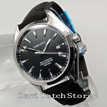 41mm Corgeut Black Dial Stainless Steel Case Movement Mens Watch 2749