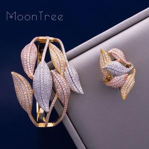 Image 2 - MoonTree Luxury SunFlower 3 Tone Full AAA Cubic Zirconia Wide Bracelet Bangle Ring Set Dress jewelry sets For women