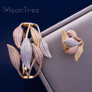 Image 2 - MoonTree Luxury Sunflower 3 โทน AAA Cubic Zirconia กำไลข้อมือกว้างแหวนชุดเครื่องประดับชุดผู้หญิง
