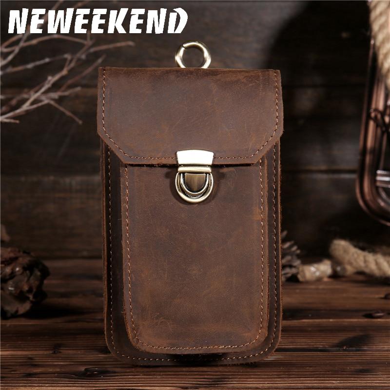 New Men's Crazy Horse Genuine Leather Waist Bag Vintage Hip Belt Bum Pack Travel Fanny Pack Belt Loops Purse Pouch 2089