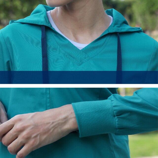 Sweats à capuche médicaux infirmière uniforme hauts hôpital échauffements sweats à capuche Sport 3 couleurs à manches longues docteur hauts manchettes tricotées