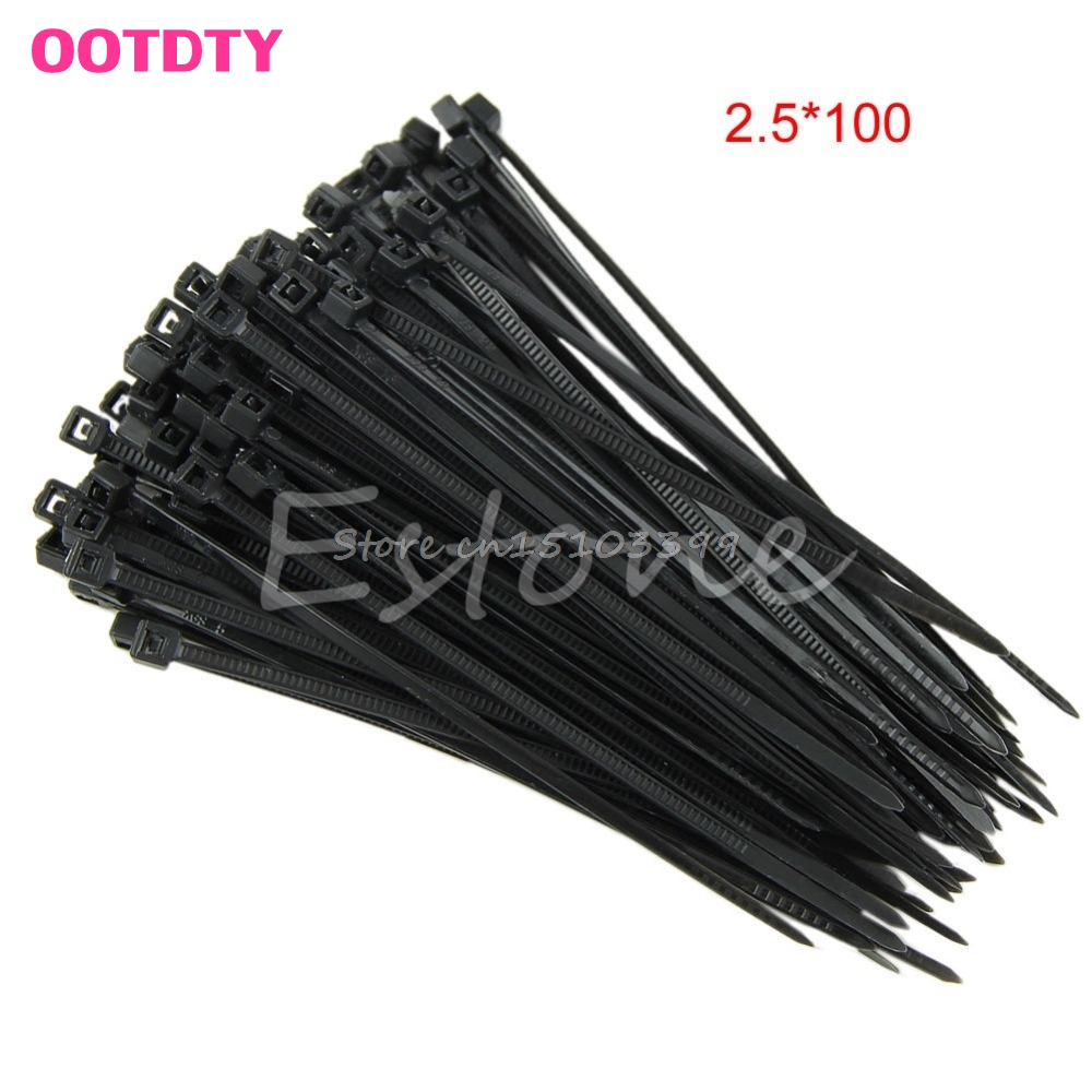 2.5X100 150 200mm Nylon Plastic Zip Trim Wrap Cable Loop Ties Wire Self-Locking vertical striped frill trim wrap dress