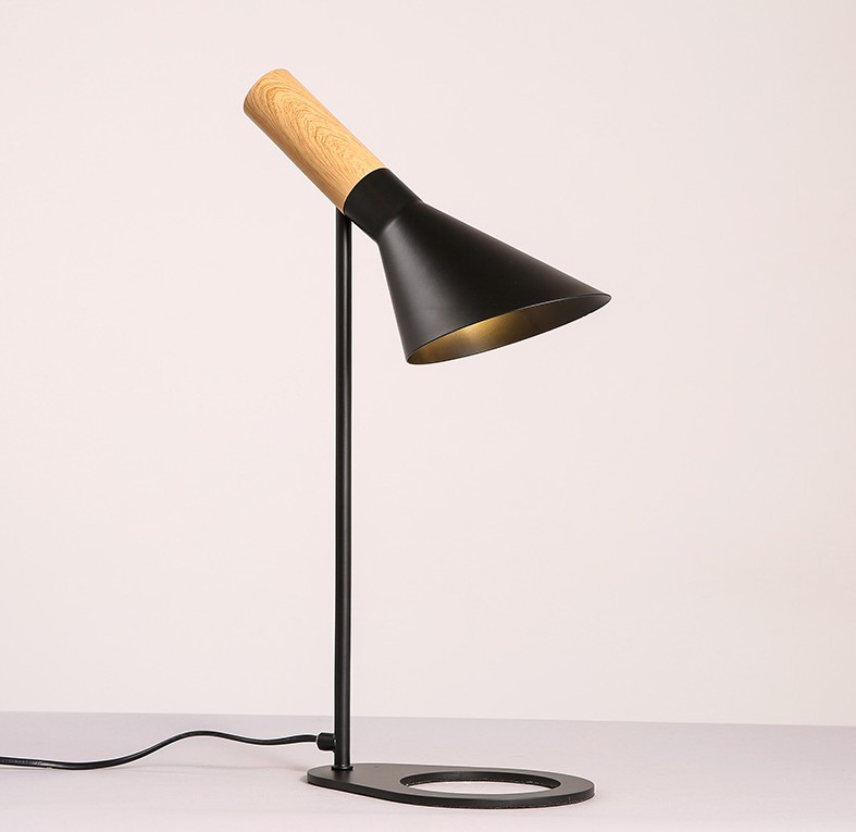 Bedroom Lamps Black: Desk Lamp Black White Iron Wooden AJ Table Light E27