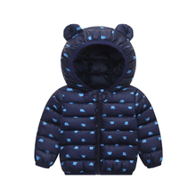 Autumn Winter New Baby Down Coats Infant Snow Wear Jackets Girls Boys Cartoon Print Hooded Warm Outerwear Clothes