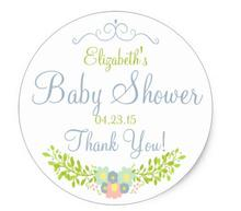 1.5inch Dusty Blue Floral Laurel Classic Round Sticker