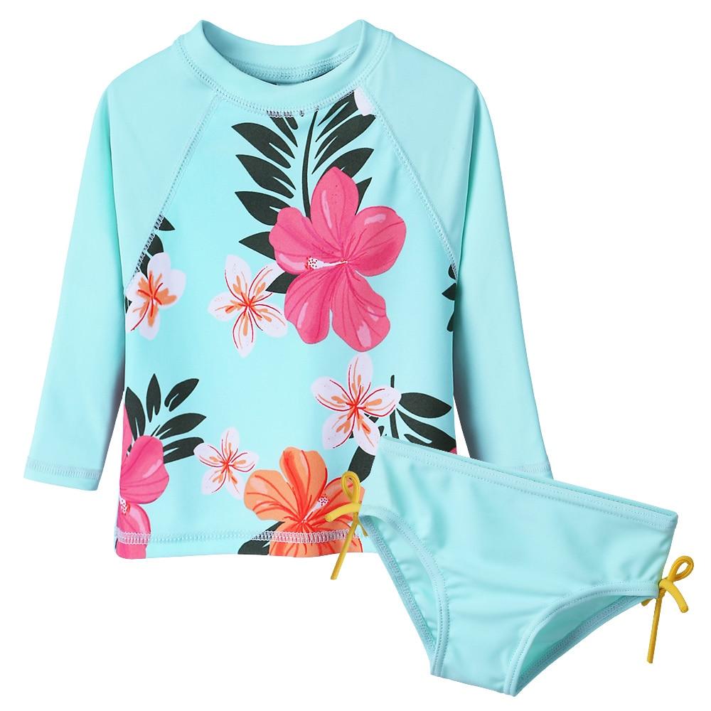 BAOHUU Floral Long Baby Swimwear Infant Bathing Suit Swimsuit for Girls Children Swimwear Cyan Pink Beachwear 50+UV Summer 2018