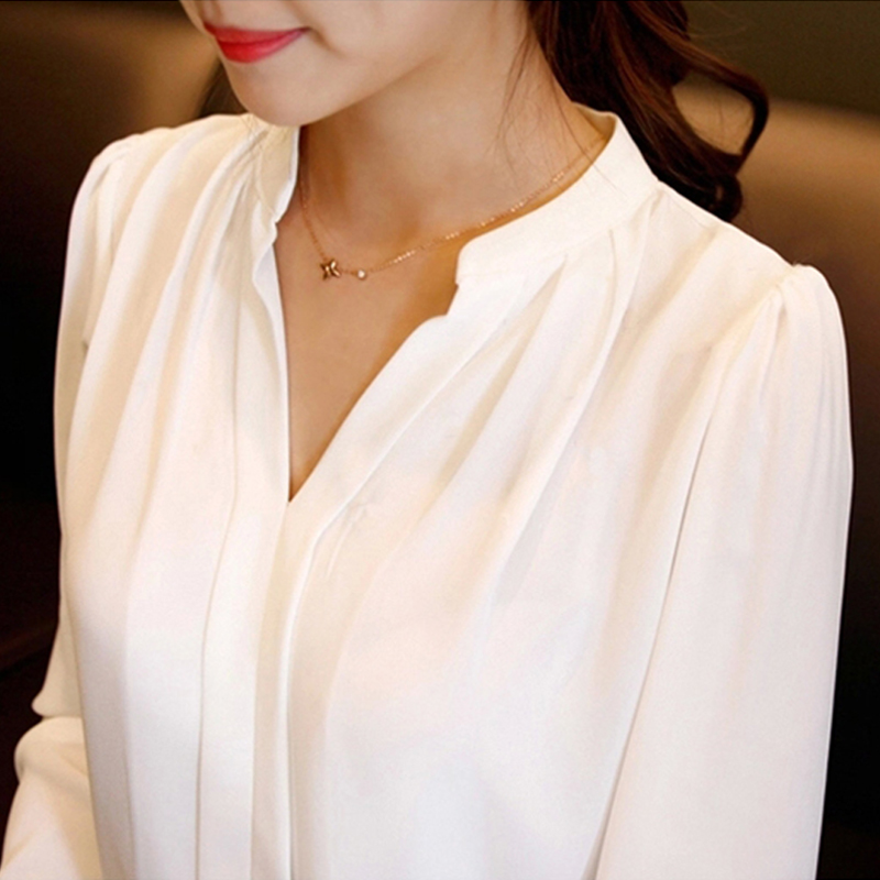 2017 Summer Women Chiffon Blouse Shirts Ladies White Elegant Sexy ...