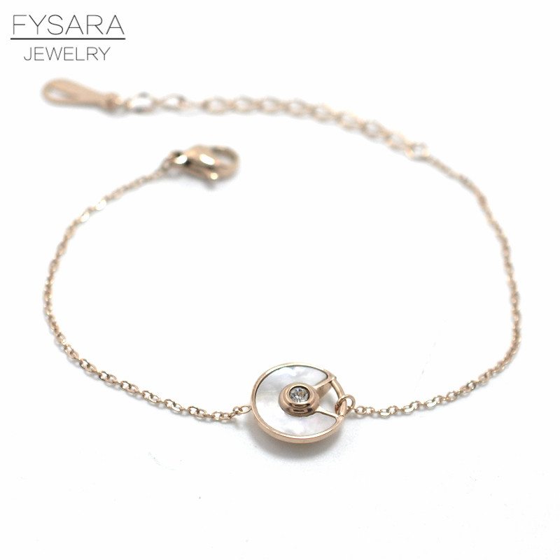 FYSARA Stainles Steel Black/White Shell Circle Saucer Charm Bracelet CZ Crystal Luxury Trendy Chain Link Bracelets For Women 5
