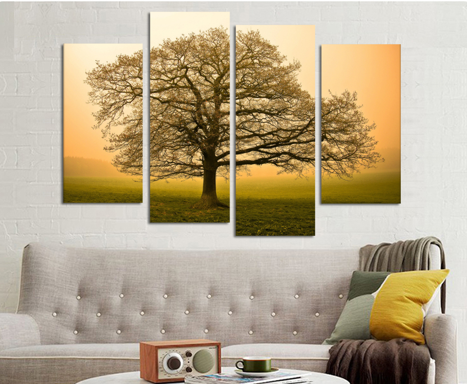 Giveaways wall sticker 4Panel Canvas Painting Tree Pictures Cuadros Canvas Art Landscape Paintings For Living Room Unframed
