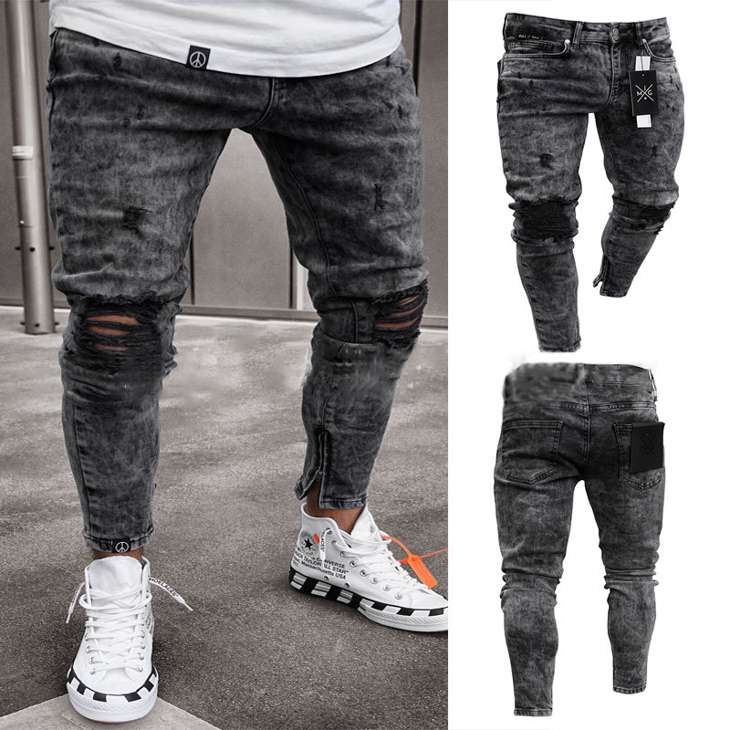 Summer Black Jeans Skinny Ripped Destroyed Fit Hop Pants With Holes Skinny Jeans For Men Skinny Jeans Men C1317
