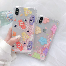 Bear quicksand glitter women case for iPhone7 7plus 8plus dynamic liquid love heart cover for iphone 7 8 6 6s plus xr xs max x цена и фото