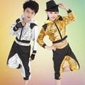 Nuevos Muchachos de Las Muchachas de Lentejuelas Con Capucha Salón de Baile Moderno Jazz Hip Hop Dance Competition Set Costume Kids Dancewear Ropa de Baile Top Pantalones
