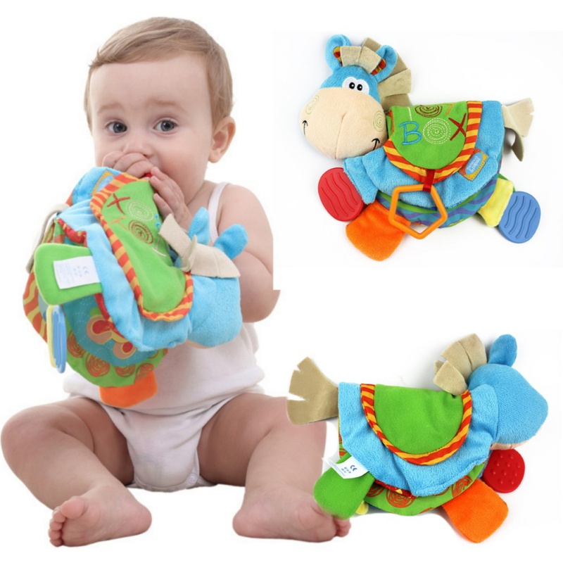 TOP Newborn <font><b>Baby</b></font> Rattles Teether <font><b>Toys</b></font> Cute Donkey Animal Cloth Book For Toddlers Learning early Education <font><b>Toys</b></font> Christmas Gift image