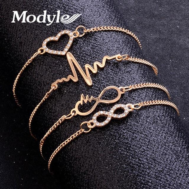 Modyle 4 יח'\סט זהב צבע קריסטל חתונה צמידי סט CZ אבן לב צמידי צמידים לאישה