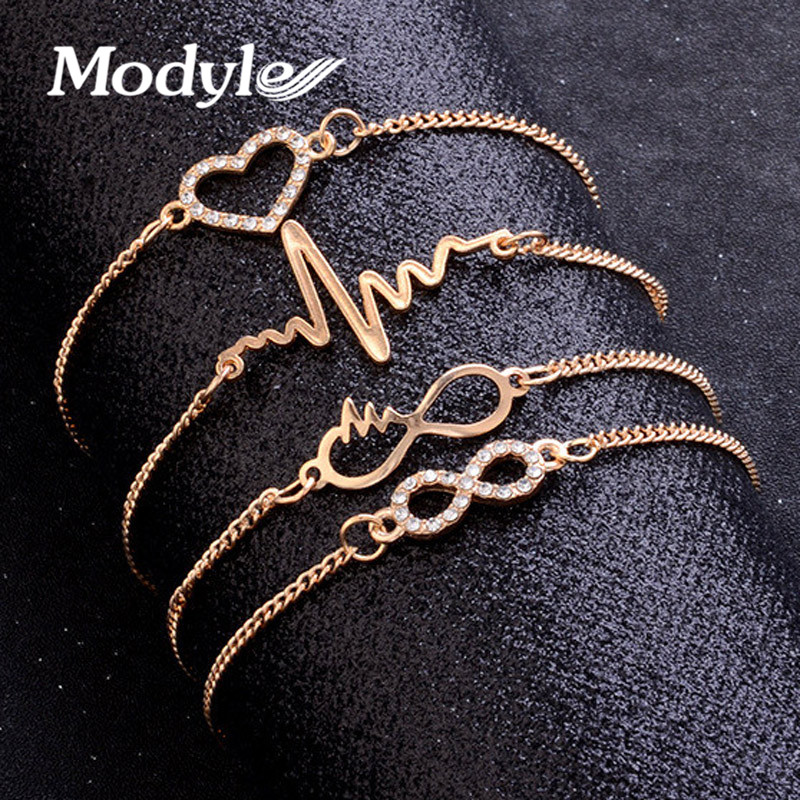 Modyle Gold Color Crystal Wedding Bracelets Set CZ Stone Heart Bracelets Bangles for Woman
