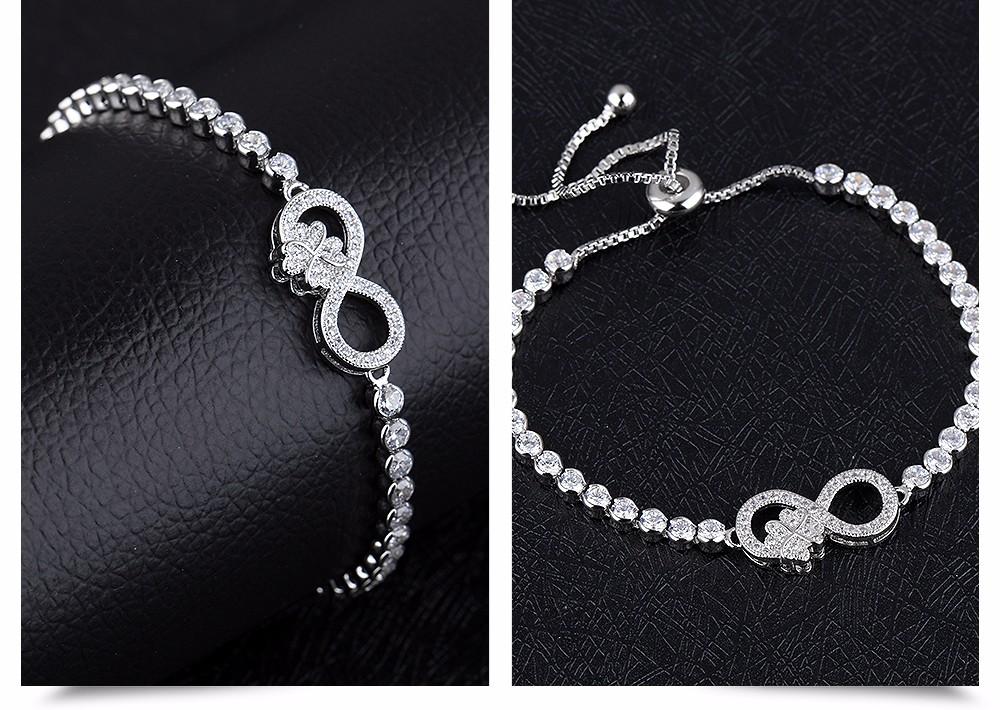 Silver Tone Women Infinity Bracelet With Cubic Zirconia Stone