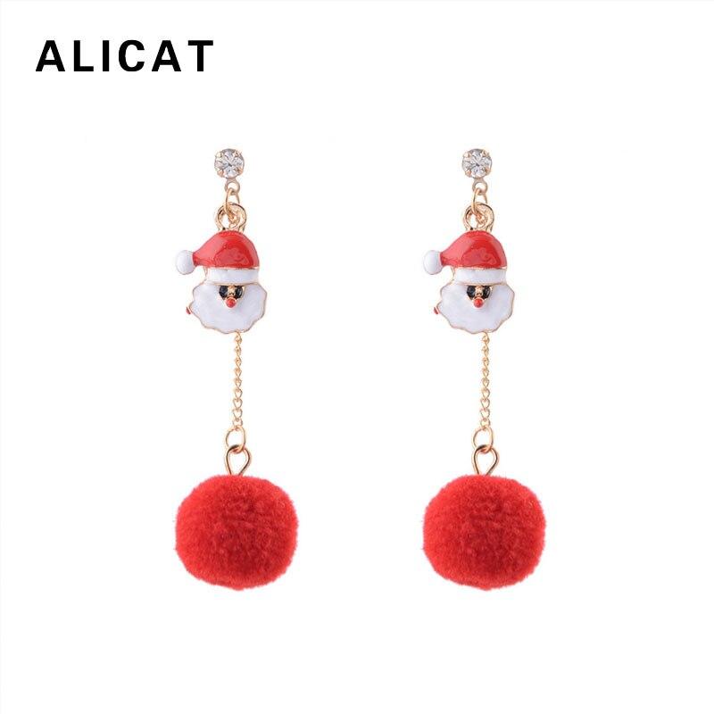 Pompom Dangle Earrings Santa Claus Drop Thread Ball Earring Pendant 2018 Fashion Cute Jewelry For Women Christmas Gift