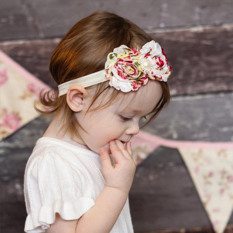 20Clrs Newborn Baby Girls Satin Ribbon Flower Headbands Photography Props Infant Baby Headband children Accessories W106